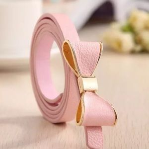 Pink Bow PU Leather Belt